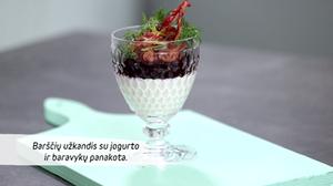 Barščių užkandis su jogurto baravykų panakota, vmg receptas