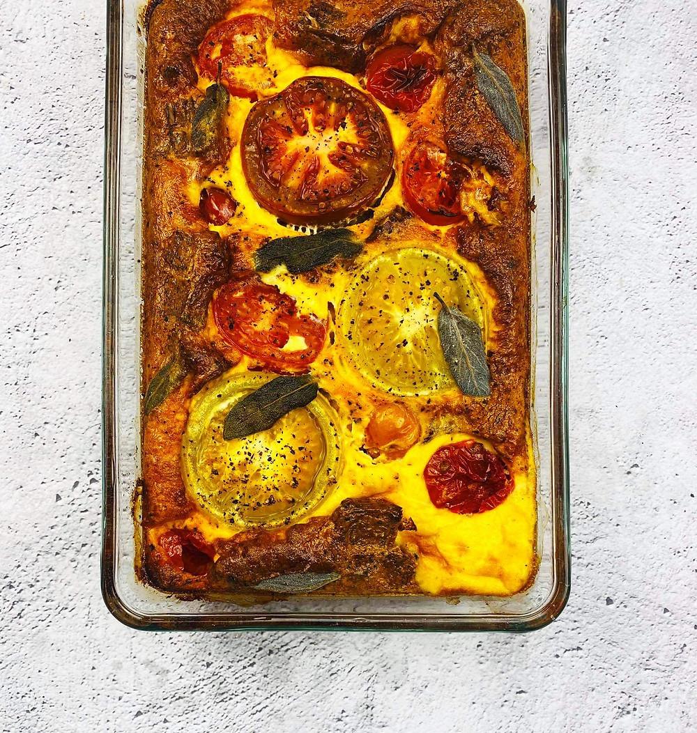 nesaldus pyragas su juoda duona ir pomidorais, kišas, Alfo receptai