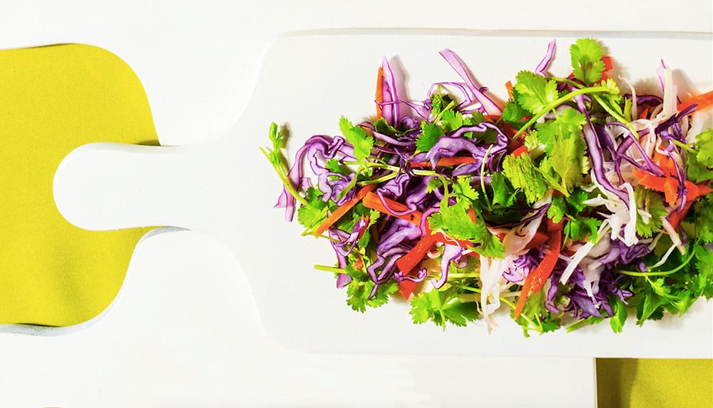 Įvairiaspalvės kopūstų salotos, vmg receptas