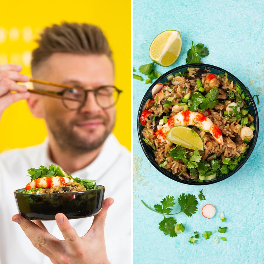 Azijietiški ryžiai su krevetėmis ir baklažanais, Alfo Ivanausko receptas