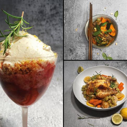 ALFAS VIENAS NAMUOSE receptai: citrininis viščiukas, kiniškos salotos, vaisinis trupiniuotis