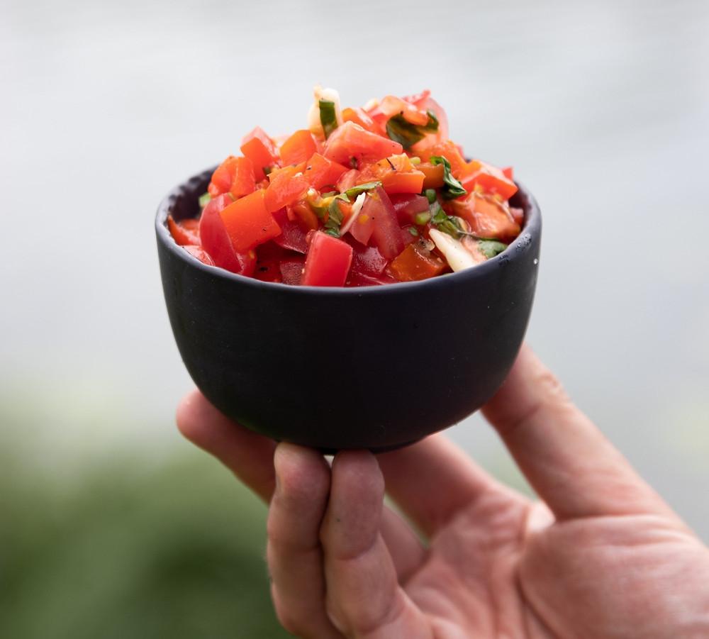 marinuotų paprikų ir pomidorų salotos, Alfo Ivanausko receptas