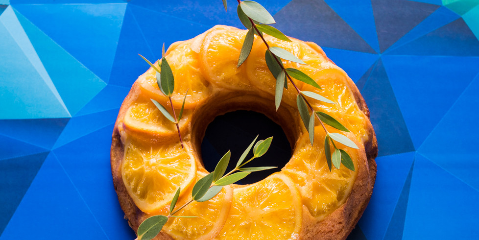 Apverstas apelsinų keksas, vmg receptas