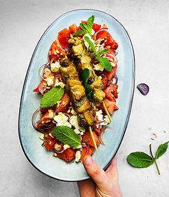 Arbūzų salotos su vištiena ir feta (Receptas)