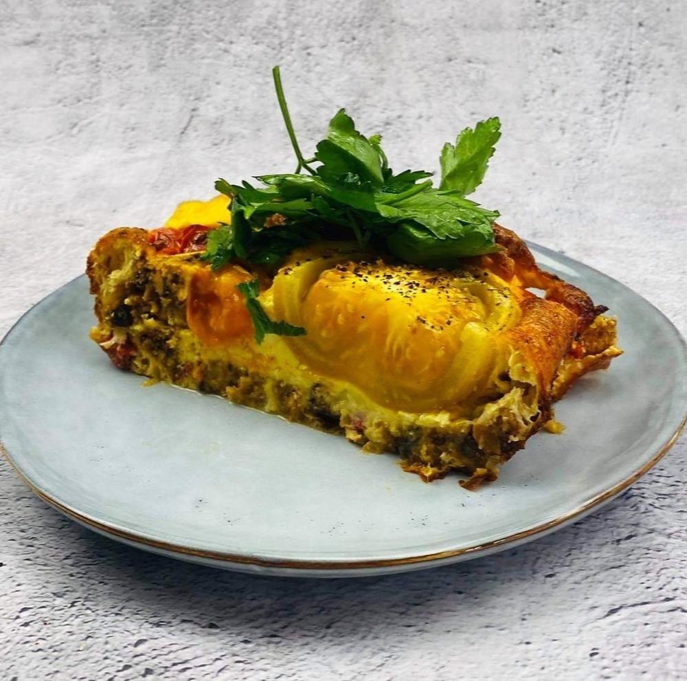 duonos ir pomidorų pyragas, Alfo Ivanausko receptas