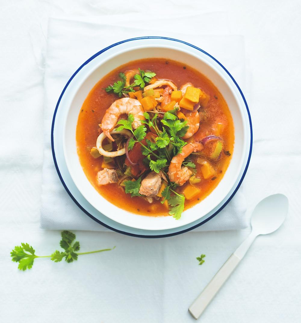 jūros gėrybių sriuba su miso ir moliūgu, vmg receptas