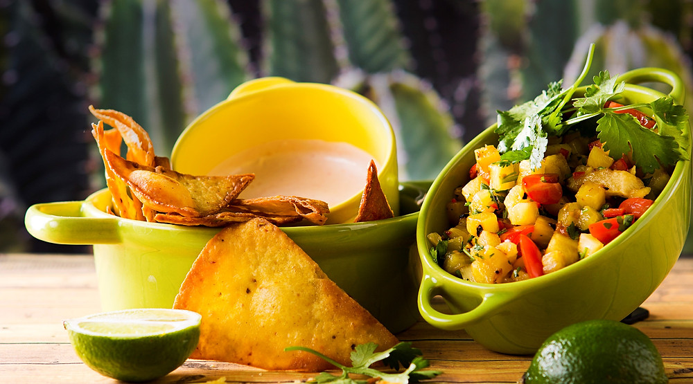 Tortilijos su chipotle majonezu ir ananasų salsa, vmg receptas