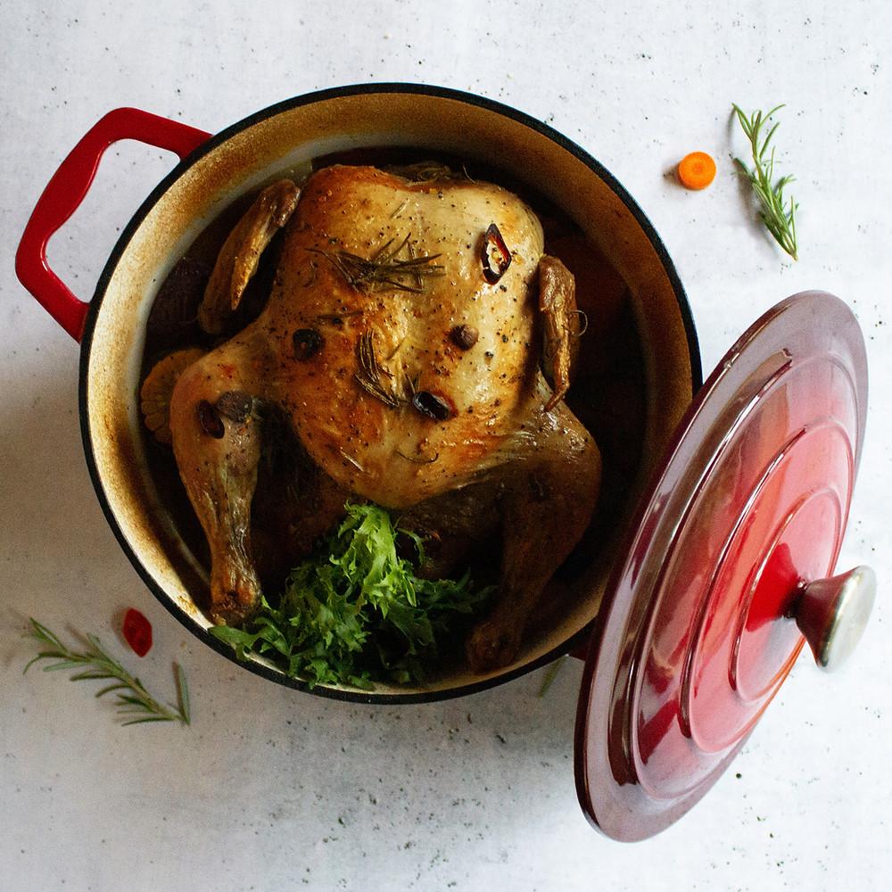 puode keptas viščiukas su daržovėmis, vmg receptas