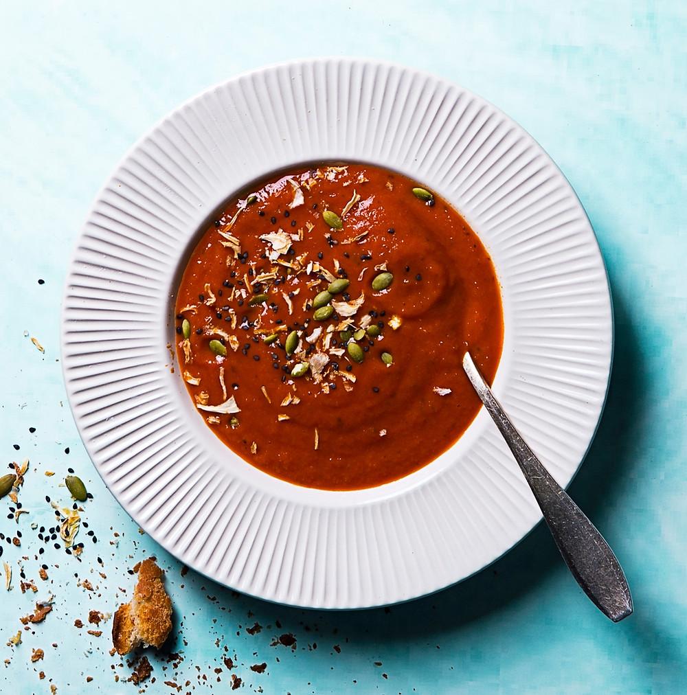 Moliūgų ir raudonųjų lęšių sriuba su pabarstukais, receptas, Alfo receptas