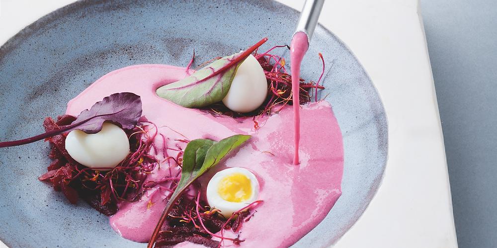 Marinuotų burokėlių sriuba su putpelių kiaušiniais, vmg receptas