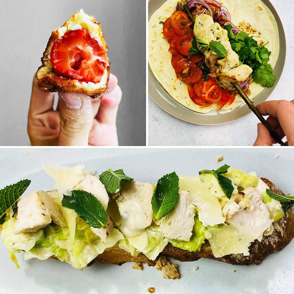 Alfo Ivanausko receptai, Cezario salotų brusketos, varškės spurgos, vištienos šašlykas