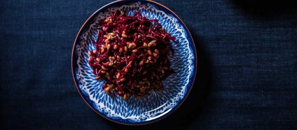Burokėlių salotos su speltų grūdais, vmg receptas