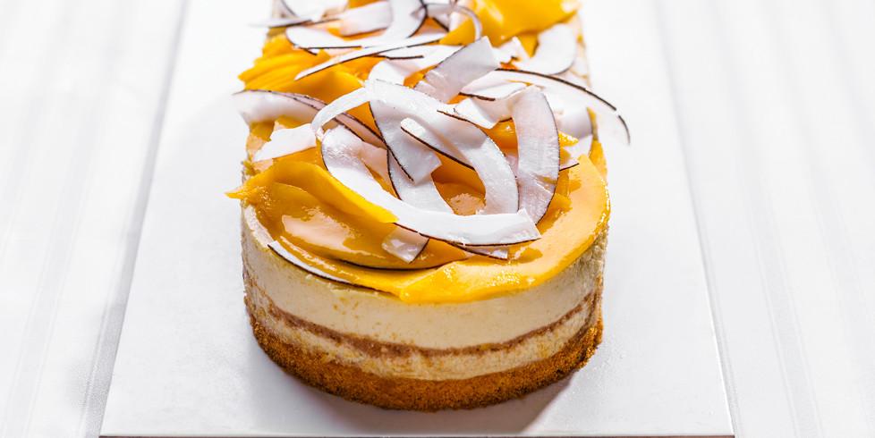 Mangų ir kokosų sūrio pyragas, vmg receptas