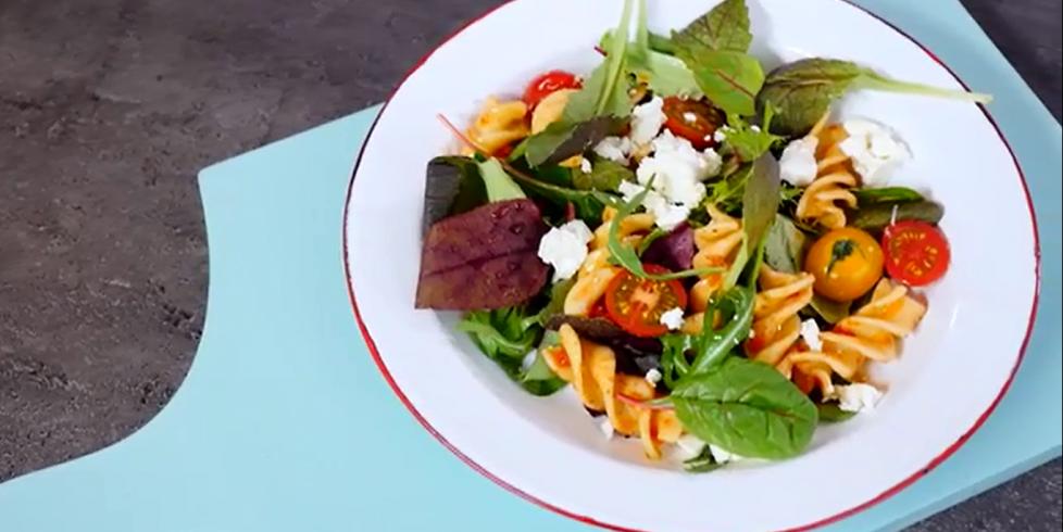 Makaronų salotos su feta, vmg receptas