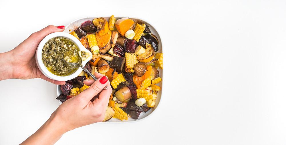 VMG valgo: šiltos sezoninių daržovių salotos, vmg receptas