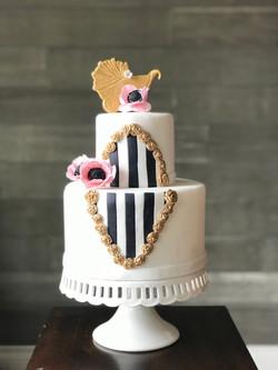 Parisian-inspired baby shower cake