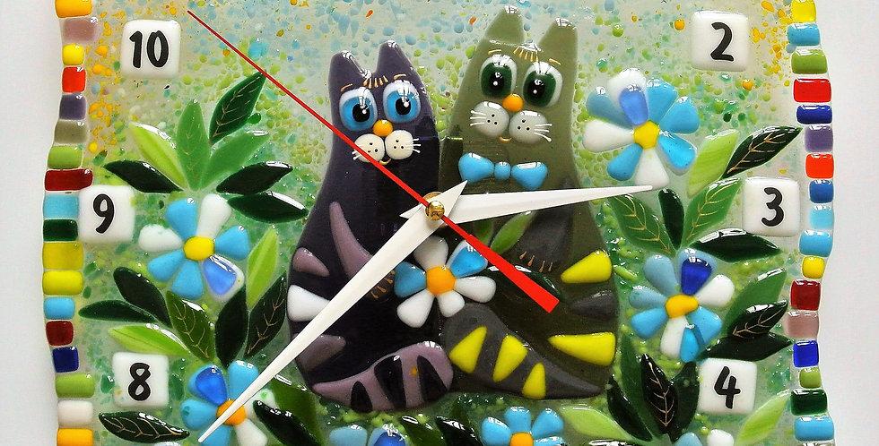 """Настенные часы """"Коты в ромашках"""""""
