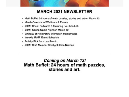 Read All About It! JRMF March 2021 Newsletter