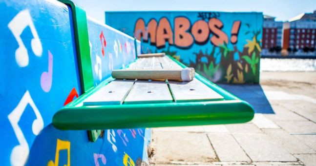 playful city, playground, bench, mural, Ireland