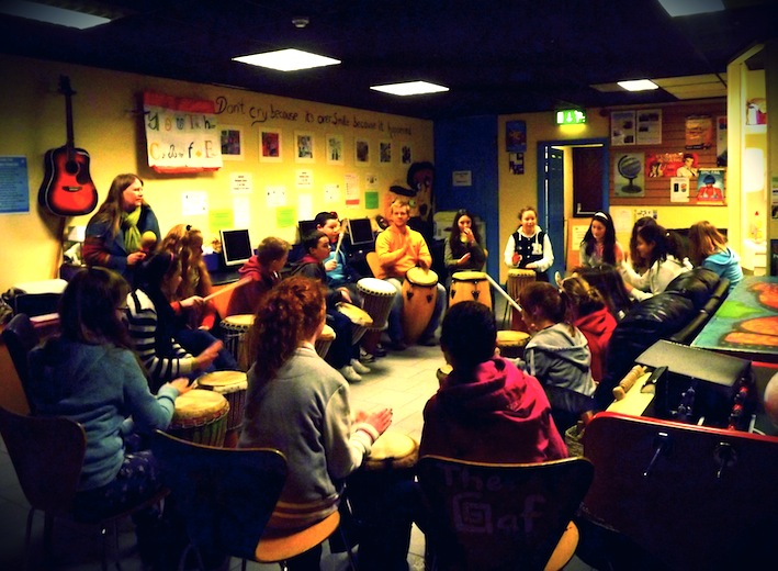 Drumming with the Youth Club