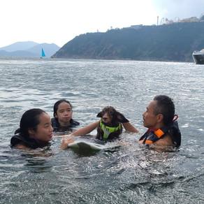 Taking choco for a swim