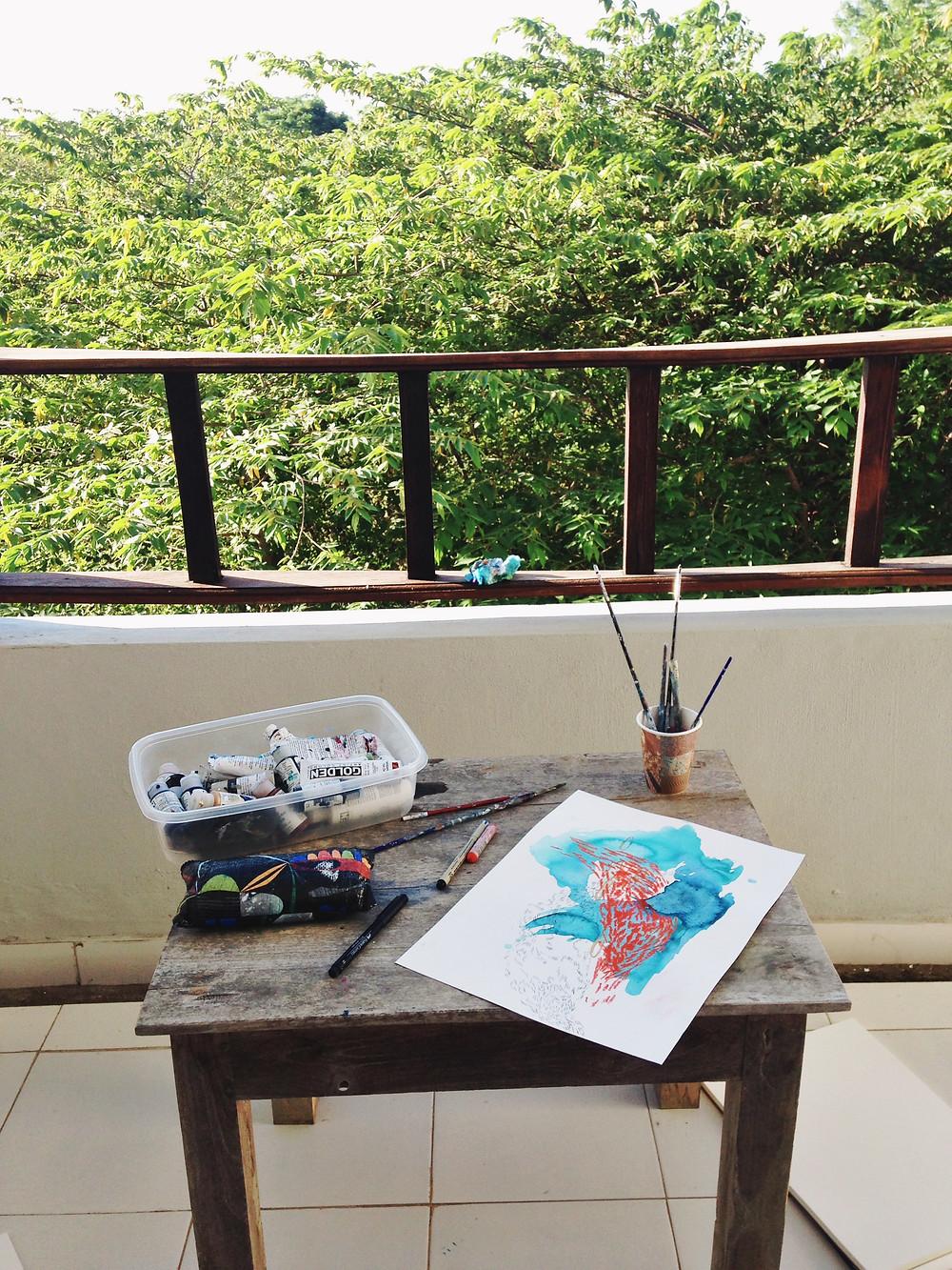 My very hot and tiny hotel balcony in Bali :)