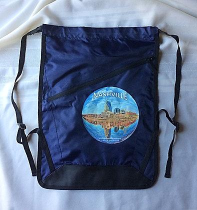 Nashville Drawstring Backpack in Navy Blue and Black