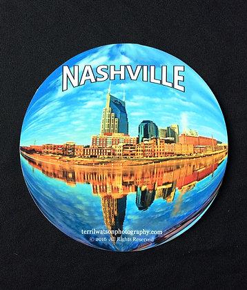 Nashville Globe Vinyl Car Magnet #5 - 6 inch circle