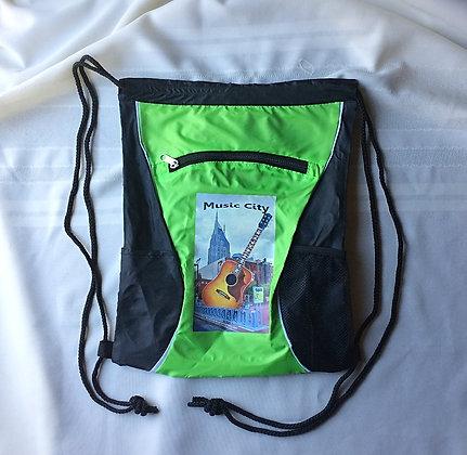 Nashville Lime Green and Black Drawstring Backpack