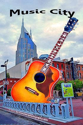 """Music City"" Nashville Vinyl Car Magnet #3 - 4 x  6 inches"