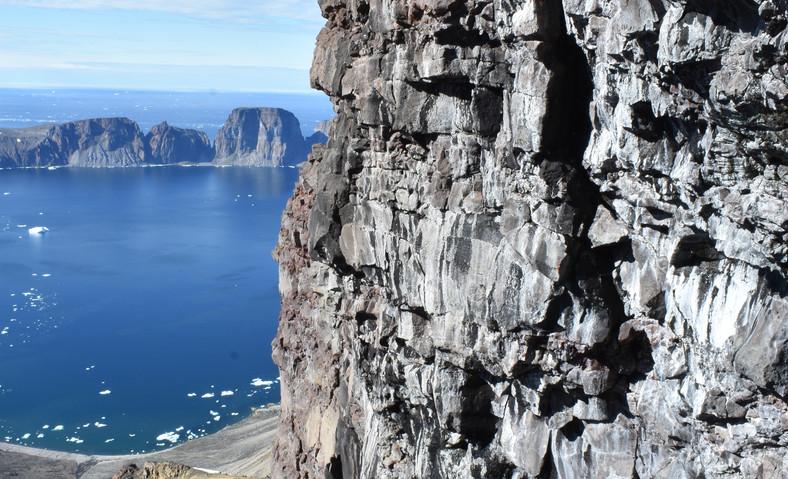 Working the cliffs.