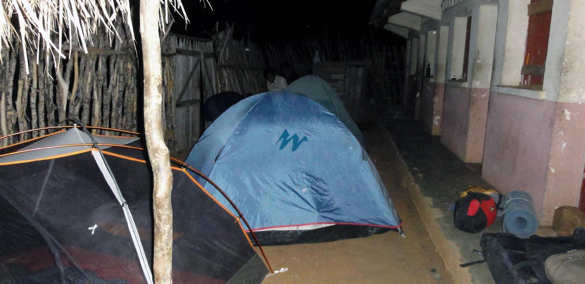 Camping at the military barracks.