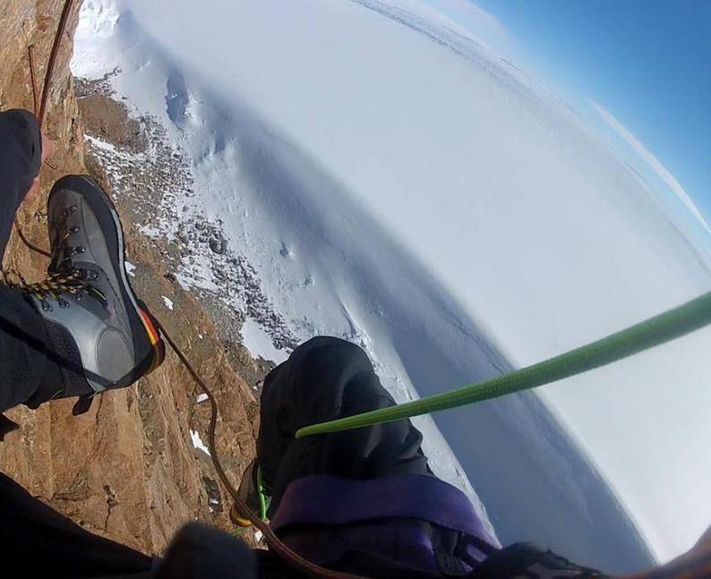 Rappelling above the Byrd Glacier.