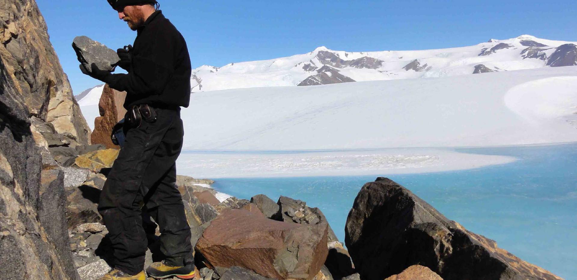 Melt ponds along glaciers.