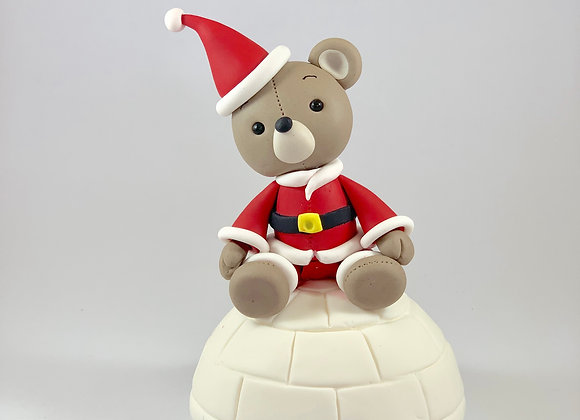 Fondant Christmas Teddy sitting on an Igloo