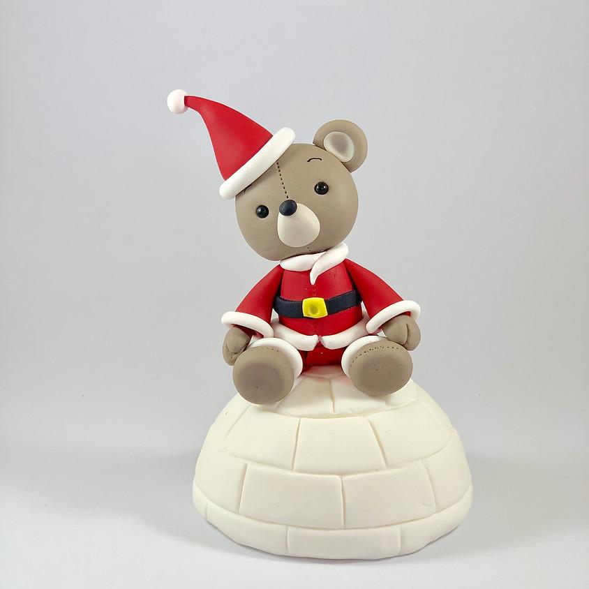 Christmas Teddy on an Igloo