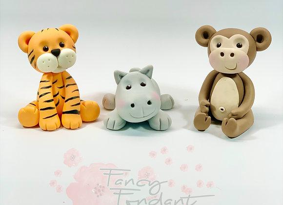 Fondant Tiger, Monkey, Hippo Jungle Animal Cake Toppers