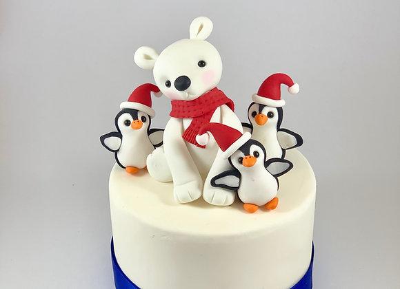 Fondant Christmas Polar Bear with three Penguins Cake Topper