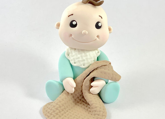 Fondant Baby with a Blanket Cake topper Decoration