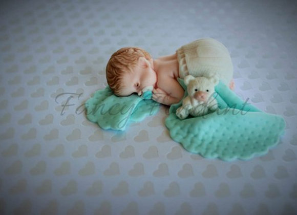 Fondant Baby Christening Baby Shower Cake topper Decoration