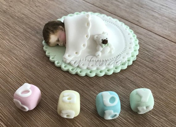 Fondant Baby, Christening Baby Shower Cake topper Decoration