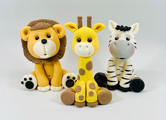 Fondant Giraffe, Zebra, Lion, Jungle Animal Cake Toppers