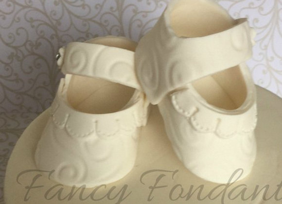 Fondant Baby Booties Shoes Christening Baby Shower Cake topper Decoration