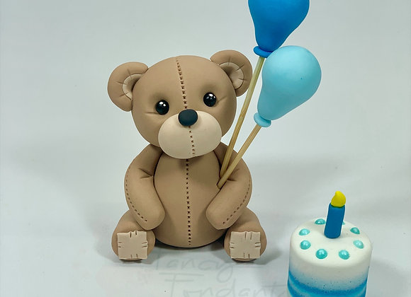 Fondant Teddy Bear with balloons & Birthday Cake, Cake topper