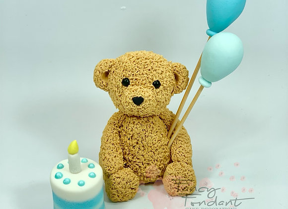 Fondant Fluffy look Teddy Bear with balloons and Birthday Cake, Cake topper
