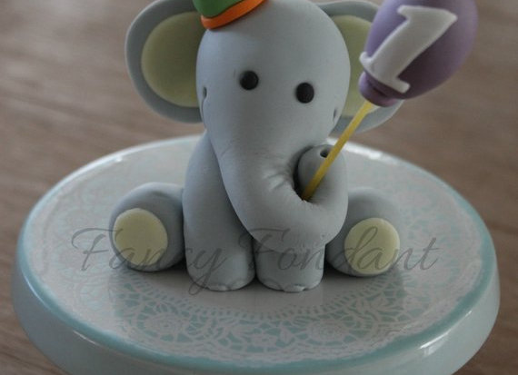 Fondant Elephant with Hat and Balloon, 3D Edible Cake topper Decoration