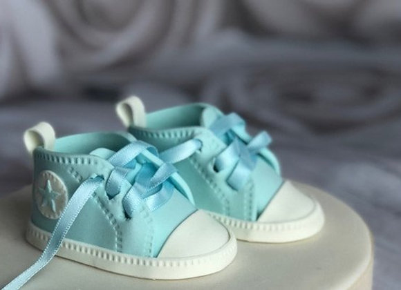Fondant Baby Sneaker Shoes Christening Baby Shower Cake topper Decoration