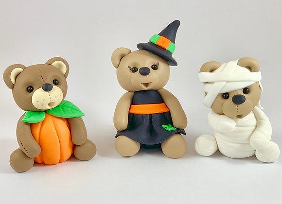 Fondant Halloween Dressed up Teddys