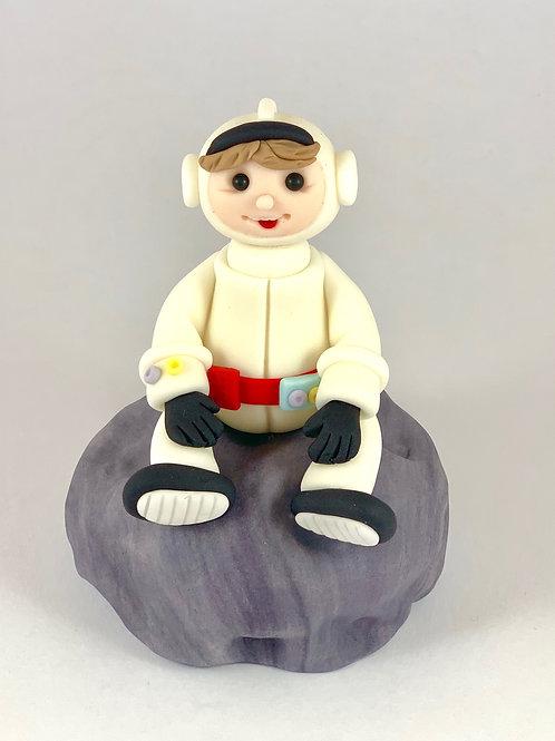 Fondant Astronaut sitting on the Moon Cake topper ...