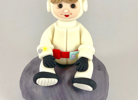 Fondant Astronaut sitting on the Moon Cake topper Decoration